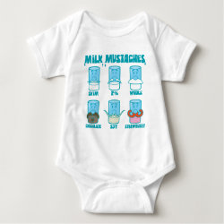 Baby Jersey Bodysuit with Milk Mustaches design