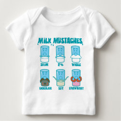 Baby Fine Jersey T-Shirt with Milk Mustaches design