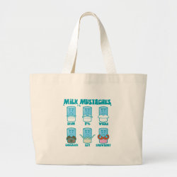 Jumbo Tote Bag with Milk Mustaches design