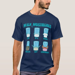 Men's Basic Dark T-Shirt with Milk Mustaches design