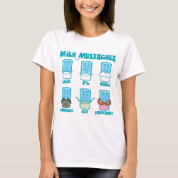 Women's Basic T-Shirt with Milk Mustaches design