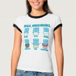 Ladies Ringer T-Shirt with Milk Mustaches design
