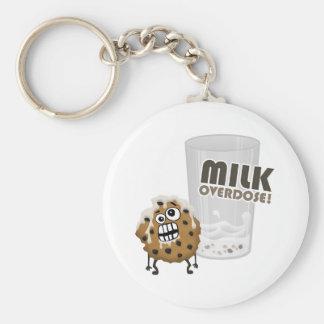 Milk Overdose for Cookie Basic Round Button Keychain