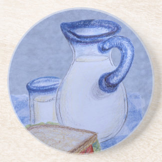 Milk Pitcher and Glass Beverage Coasters