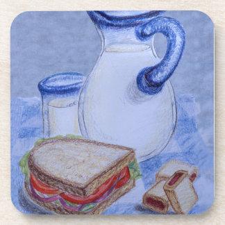 Milk Pitcher and Glass Beverage Coaster