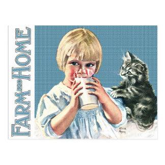 """MILK PLEASE"" BABY & KITTEN VINTAGE FARM AND HOME POSTCARD"