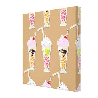 Milk Shake Fun Design on Tan Gallery Wrapped Canvas