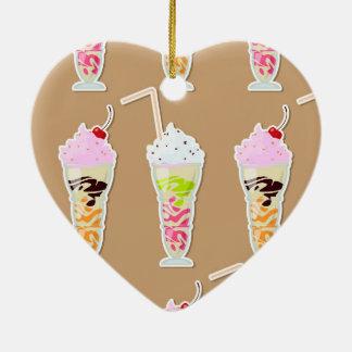 Milk Shake Fun Design on Tan Ceramic Ornament