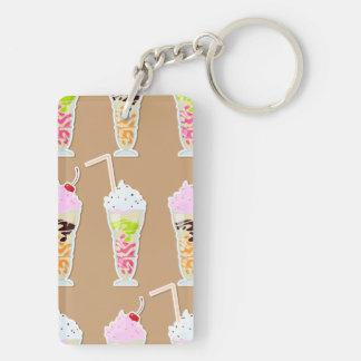 Milk Shake Fun Design on Tan Rectangular Acrylic Keychain