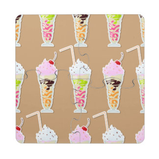 Milk Shake Fun Design on Tan Puzzle Coaster