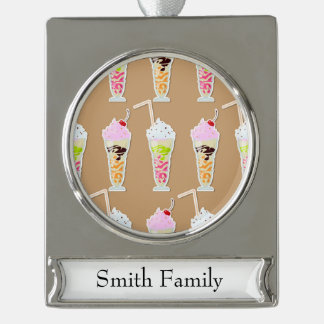 Milk Shake Fun Design on Tan Silver Plated Banner Ornament
