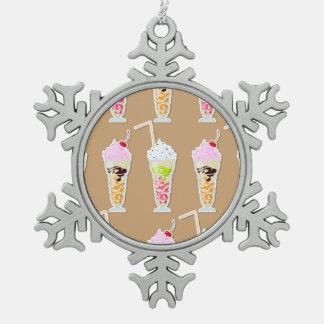 Milk Shake Fun Design on Tan Snowflake Pewter Christmas Ornament