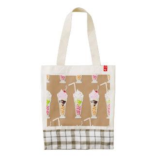 Milk Shake Fun Design on Tan Zazzle HEART Tote Bag