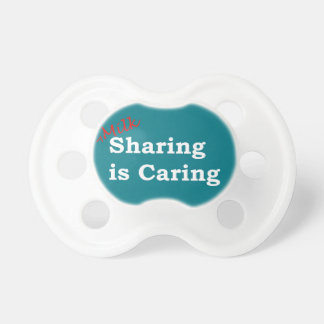 Milk sharing is caring with red and white writing pacifier