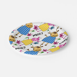 """""""Milk?"""" sign with cute cow character Paper Plate"""
