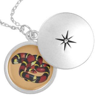 Milk snake round locket necklace
