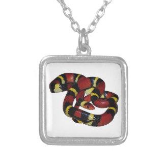Milk snake square pendant necklace
