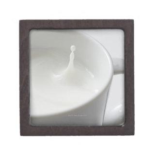 Milk splashing in cup gift box