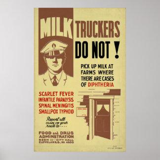 Milk Trucker FDA Warning 1940 WPA Vintage Health Poster
