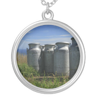 Milk urns silver plated necklace