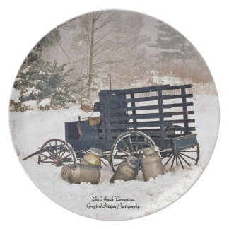 Milk Wagon In Snow Party Plate