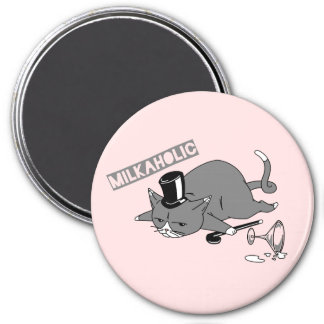 Milkaholic Cat Baron Illustration 3 Inch Round Magnet