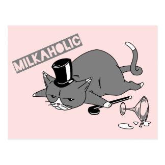 Milkaholic Cat Baron Illustration Postcard