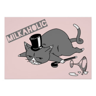 Milkaholic Cat Baron Illustration Poster