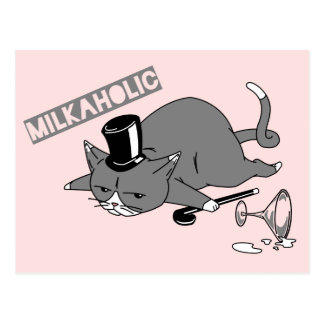 """Milkaholic"" Cat Baron Pun Illustration Postcard"
