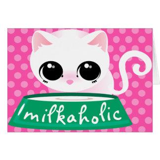 Milkaholic White Kitty Card