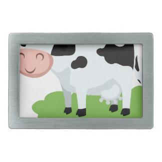 milking cow in the garden rectangular belt buckle