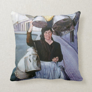 Milkmaid with earthenware vessels/Milkmaid with po Throw Pillows
