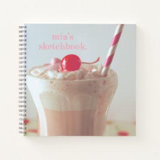 Milkshake customizable spiral sketchbook Notebook