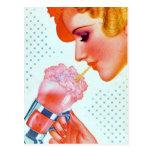 Milkshake de consumición del vintage del chica postales