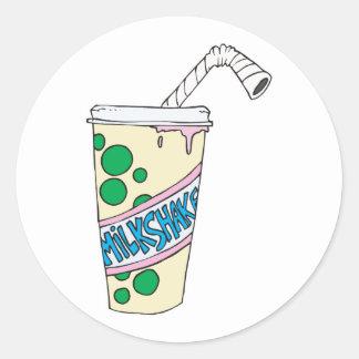 milkshake de la fresa pegatina redonda