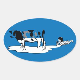 Milky girl oval sticker