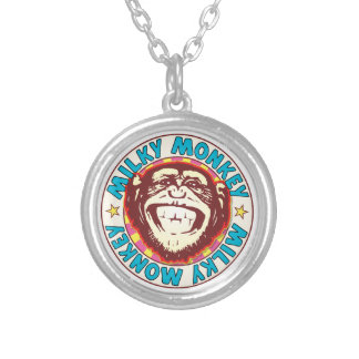 Milky Monkey Round Pendant Necklace