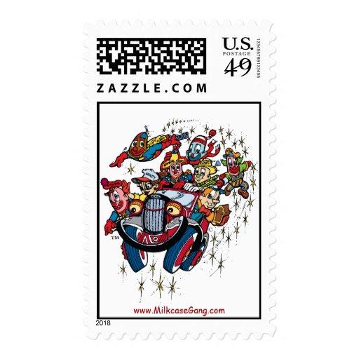 Milky & the Milkcase Gang Burst Logo Postage Stamp
