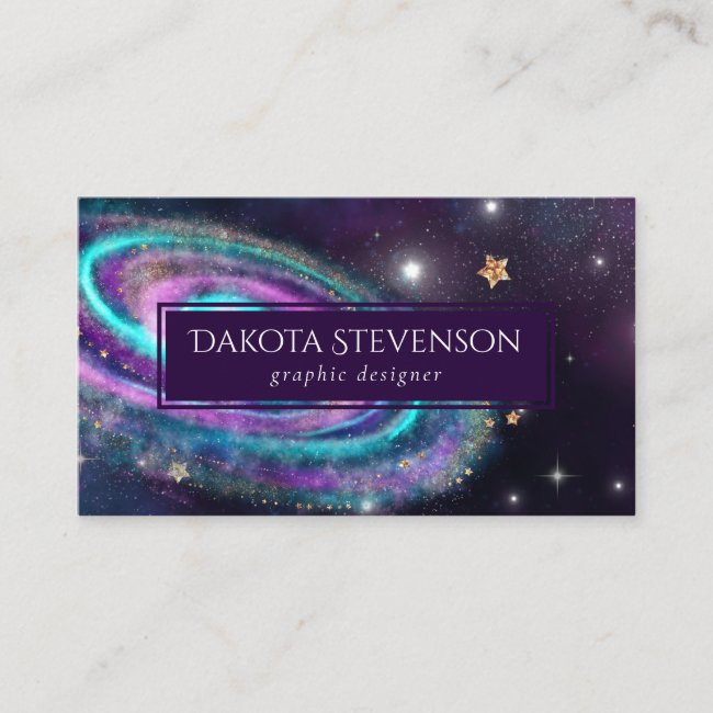 Milky Way Galaxy | Cosmic Blue Purple Pink Glow Business Card