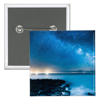 Milky Way Galaxy Over Fishing Boats Button