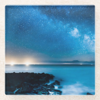 Milky Way Galaxy Over Fishing Boats Glass Coaster
