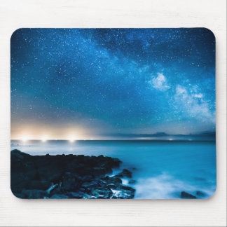 Milky Way Galaxy Over Fishing Boats Mouse Pad