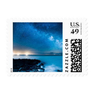 Milky Way Galaxy Over Fishing Boats Postage