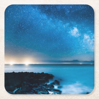 Milky Way Galaxy Over Fishing Boats Square Paper Coaster