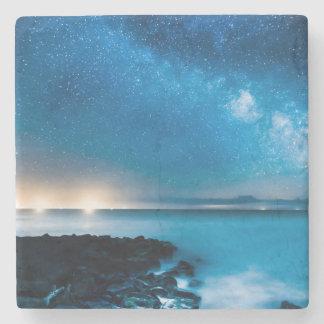 Milky Way Galaxy Over Fishing Boats Stone Coaster