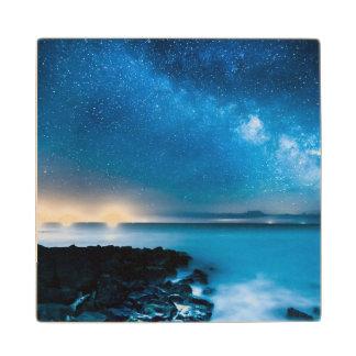 Milky Way Galaxy Over Fishing Boats Wooden Coaster