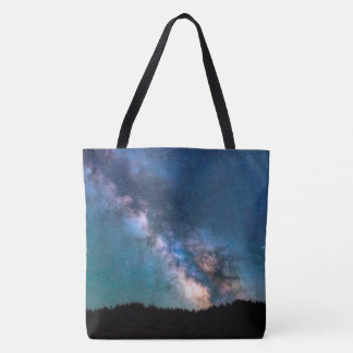 Milky Way Galaxy scenic view landscape with trees Tote Bag