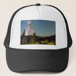 Milky Way Magic Longs Lake and the Indian Peaks Trucker Hat