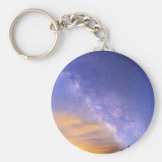 Milky Way Night to Day Basic Round Button Keychain