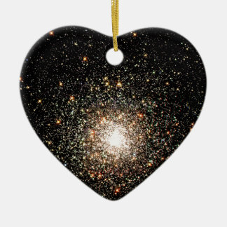 Milky Way Star Cluster Double-Sided Heart Ceramic Christmas Ornament
